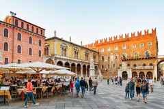 Street cafes on Piazza delle Erbe Market square, Verona, Italy Royalty Free Stock Images