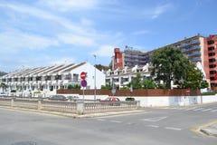 Street in Calella, Costa-Brava beach. Royalty Free Stock Photos