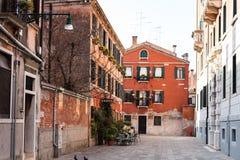 Street Calle Sechera in Venice city in spring Royalty Free Stock Image