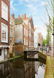 Street with canal of Delft, Holland Stock Photography