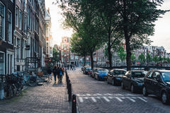 Street and canals view in Amsterdam Stock Photos
