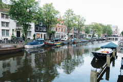 Street and canals view in Amsterdam Stock Images