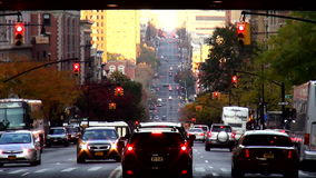 Street Canyon in Harlem New York City USA cityscapes stock video footage