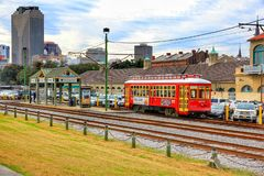A street car in downtown New Orleans royalty free stock images