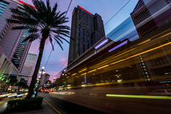 Street Car at Night on Canal Street in New Orleans Louisiana stock photography