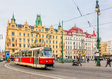 Street Car in Prague City Center Stock Photo