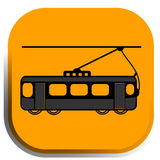 Street car, tram icon. Street car icon has multiple options for using. Good for webs, maps, applications and more Stock Image