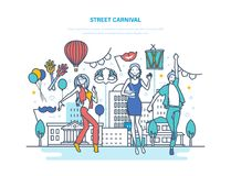 Street carnival concept. Dances, carnival, masquerade, festive masks and costumes. Street carnival concept. Various dances, carnival, masquerade, festive masks Royalty Free Stock Photo