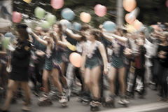 Street carnival parade. Special lens blur royalty free stock images