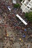 Street carnival in São paulo, Brazil. Crowd dancing around the `trio elétrico`, the typical sound truck of  street carnival at São Paulo, Brazil Stock Photos
