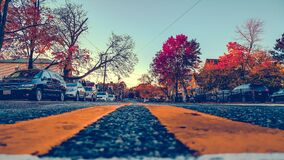 Street with cars aside Royalty Free Stock Photography