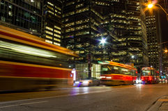 Street cars at night in Toronto Royalty Free Stock Photos