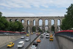 Street and Cars at Valens Aqueduct in Istanbul-Fatih, Turkey Royalty Free Stock Images