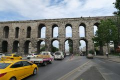 Street and Cars at Valens Aqueduct in Istanbul-Fatih, Turkey Stock Photos