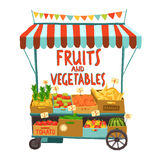Street Cart With Fruits. Street sale cart with fruits and vegetables cartoon vector illustration Stock Photos