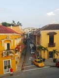 Street in Cartagena. A street in the old town in Cartagena, Colombia Stock Photos
