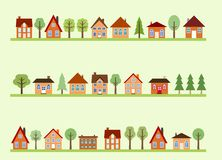 Street cartoon. Small town street view with cartoon homes and trees. European village street royalty free illustration