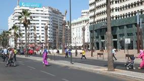 Street in Casablanca, Morocco stock video