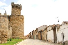 Street with castle and ancient houses,Oropesa,Spain Royalty Free Stock Photos