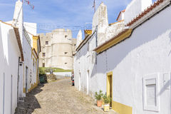 Street and the castle in Evoramonte village, municipality of Estremoz, Alentejo, Portugal Royalty Free Stock Photo