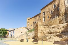 Medieval castle palace in Cetina town. A street and the castle palace in Cetina town, province of Zaragoza, Aragon, Spain royalty free stock photography