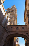 Street and Cathedral of Toledo Spain Stock Photos
