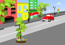On the street, cdr vector. Street view with garage, hotel, shop and car, vector format Stock Photos
