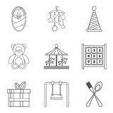 Street celebration icons set, outline style. Street celebration icons set. Outline set of 9 street celebration vector icons for web isolated on white background Royalty Free Stock Images