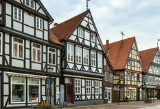 Street in Celle, Germany. The street with historical half-timbered houses in the old city of Celle, Germany Royalty Free Stock Photo