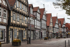 Street in Celle, Germany. The street with historical half-timbered houses in the old city of Celle, Germany Stock Photo