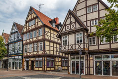 Street in Celle, Germany. The street with historical half-timbered houses in the old city of Celle, Germany Royalty Free Stock Photography