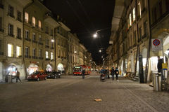 Street in center of Bern at night Stock Photo