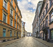Street in center of old Riga city, Latvia, Europe Royalty Free Stock Image