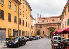 Street in a center of an old town in Bologna, Italy Stock Images