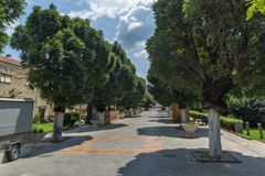 Street in the center of town of Strumica, Republic of Macedonia. STRUMICA, MACEDONIA - JUNE 21, 2018: Street in the center of town of Strumica, Republic of Stock Photography