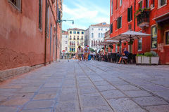 Street in a center of Venice. Venice, Italy, June, 21, 2016: the image of a street in a center of Venice, Italy Royalty Free Stock Photos