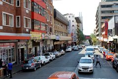 Street in the Central Business District, Johannesburg royalty free stock images