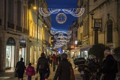 Street in central Montpellier with Christmas Decorations, France royalty free stock photos
