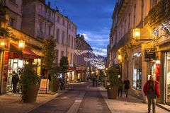 Street in central Montpellier with Christmas Decorations, France stock photography