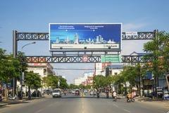Street in central phnom penh city cambodia Stock Photo