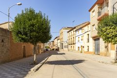 A street in Cetina town with typical houses. Province of Zaragoza, Aragon, Spain royalty free stock images