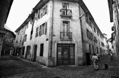 Street of Chambery, France. Black and white image of a narrow street of the old town in Chambery, France Royalty Free Stock Photos