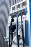 Street charging of electric cars. In the parking lot stock image