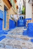 Street in Chefchaouen colourful medina, Morocco. Royalty Free Stock Photos