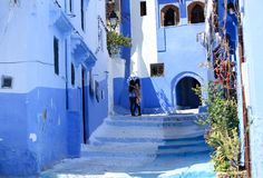Street of Chefchaouen royalty free stock photos