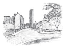 Street in Chemnitz Karl-Marx-Stadt. Hand-drawn sketch. Linear Royalty Free Stock Photo