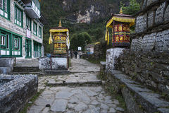 Street. CHHEPLUNG, NEPAL - CIRCA OCTOBER 2013: the main street of the village Chheplung near Lukla circa October 2013 in Chheplung Stock Photography