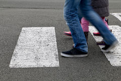Street - children crossing a crosswalk Royalty Free Stock Photography