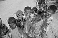 Street children. PHNOM PHEN, CAMBODIA MARCH 23: Unidentified street children posing on march 23 2013 in Phnom Phen,Cambodia.In Phnom Penh alone there are between stock images