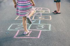 Street children`s games in classics. Selective focus. Nature royalty free stock photos